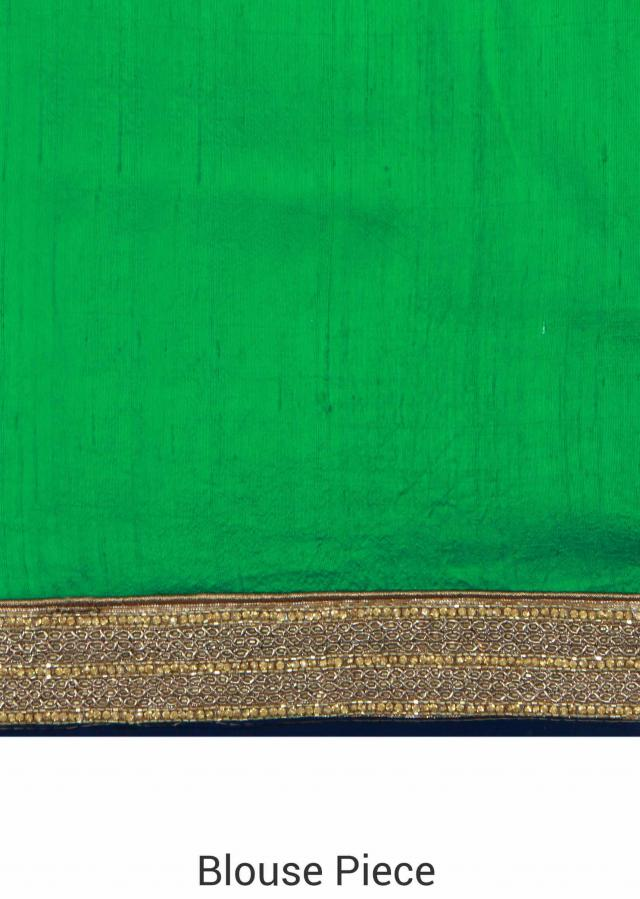 Green saree enhanced in weave and embroidered border only on Kalki