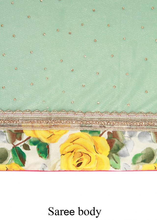 Green shimmer saree featuring in floral printed border only on Kalki