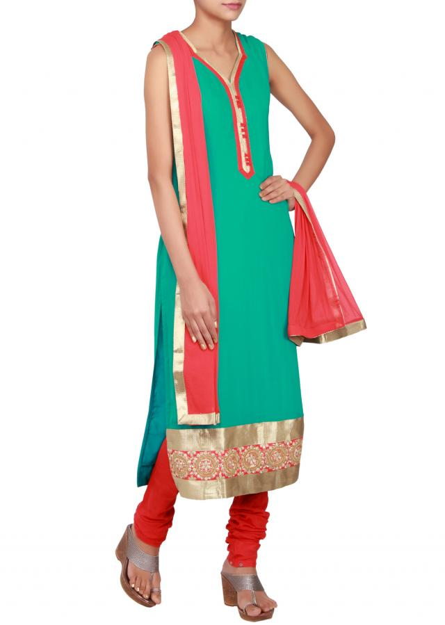 Green straight cut suit in georgette embellished in zari only on Kalki