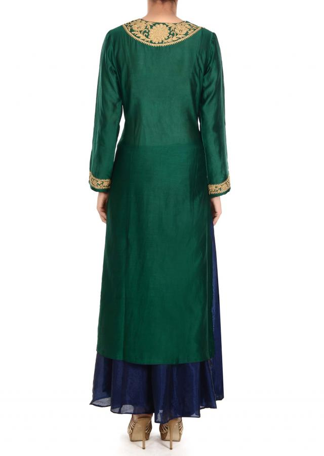 Green straight suit with zari embellished placket only on Kalki