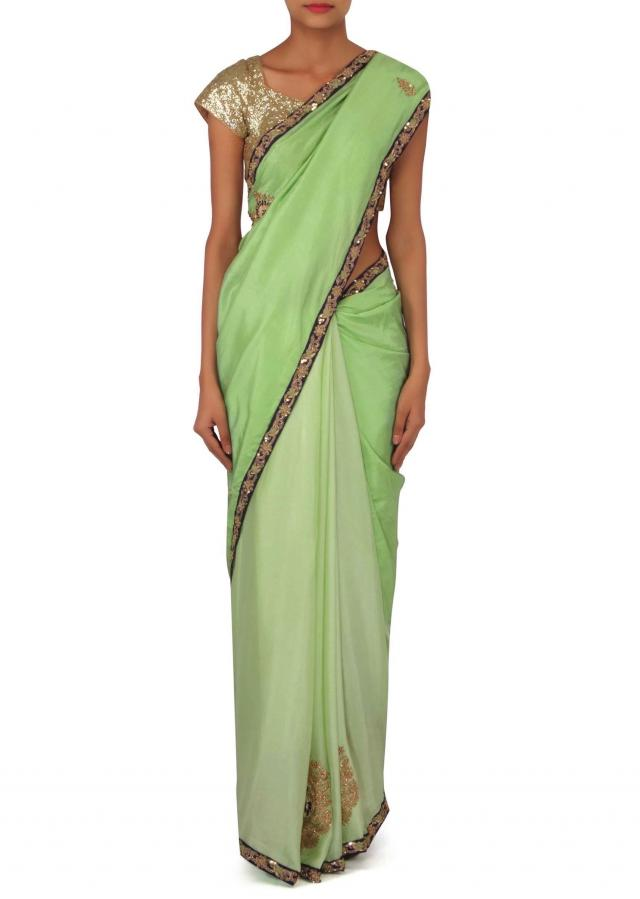 Meadow ‌green two tone saree in zardosi embroidered butti only on Kalki