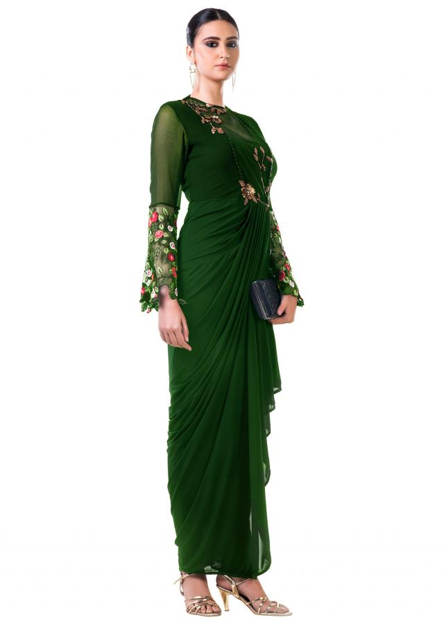 Green Draped Dress With Embroidered Bell Sleeves Online - Kalki Fashion