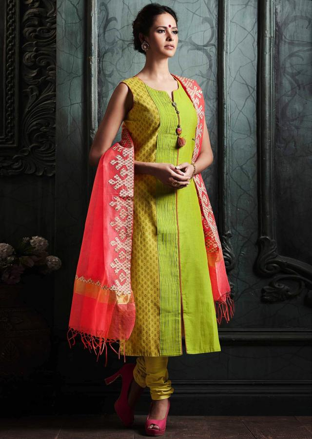 Green straight suit in cotton silk with print and applique work on dupatta only on Kalki