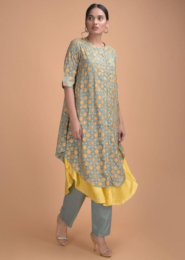 Greenish Grey Layered Kurti With Patola Print And Thread Embroidery Online - Kalki Fashion