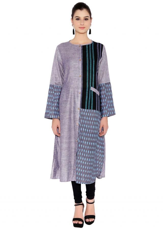 Grey & Black Cotton Kurti With Printed Pattern And Pocket On Left Only On Kalki