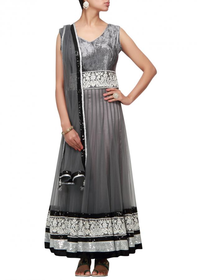 Grey anarkali suit thread and sequence work
