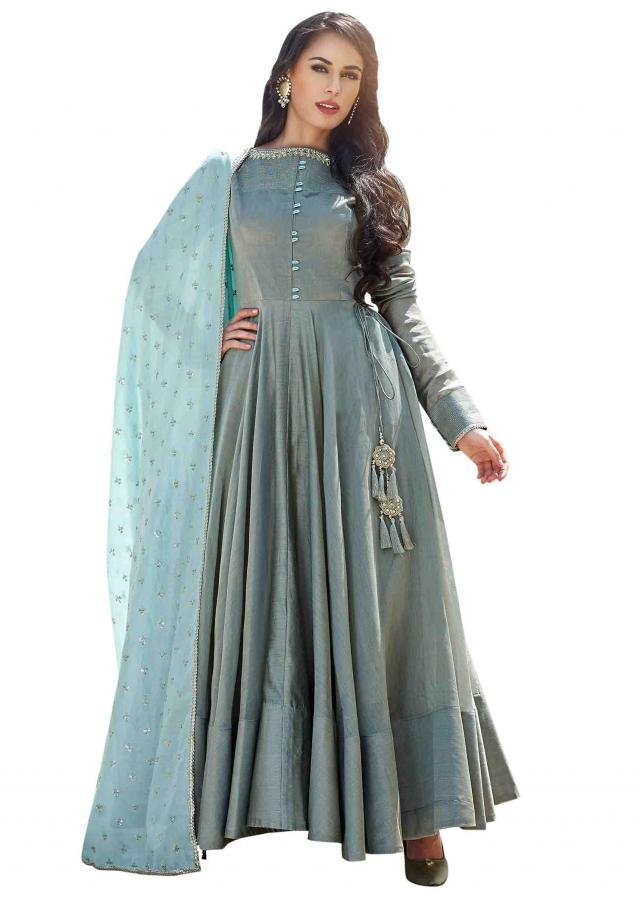 Grey anarkali suit with mirror embroidered neckline
