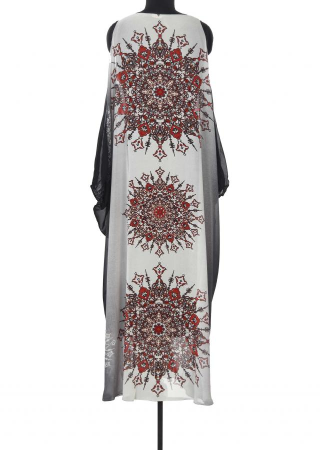Grey and black shaded kaftan in digital print only on Kalki
