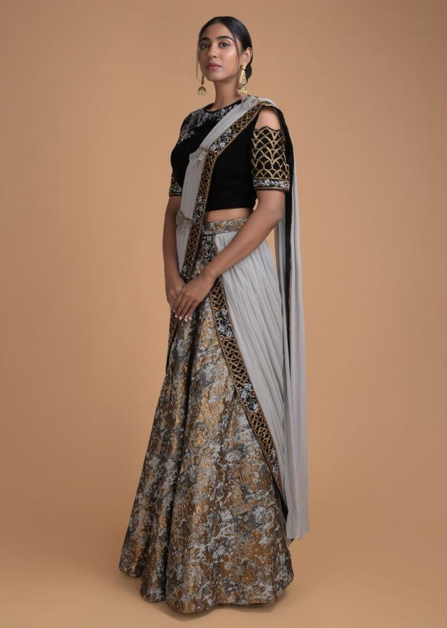 Grey And Gold Lehenga In Brocade With Embroidered Blouse And Pre Stitched Dupatta  Online - Kalki Fashion