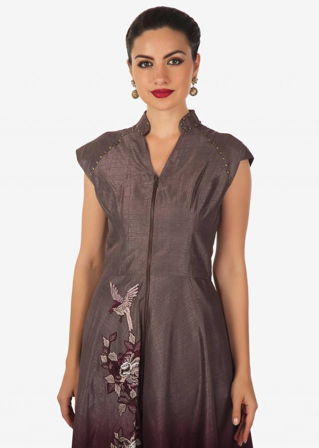 Grey and plum shaded suit adorn in resham patch embroidery only on Kalki
