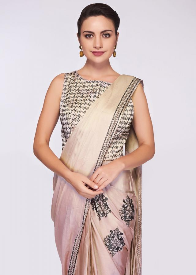 Grey Beige Saree Gown In Satin With Heavy Kundan Embroidered Bodice Online - Kalki Fashion