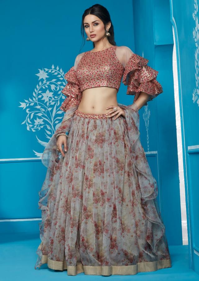 Grey Lehenga With Floral Print And Embroidered Blouse And Frill Dupatta Online - Kalki Fashion