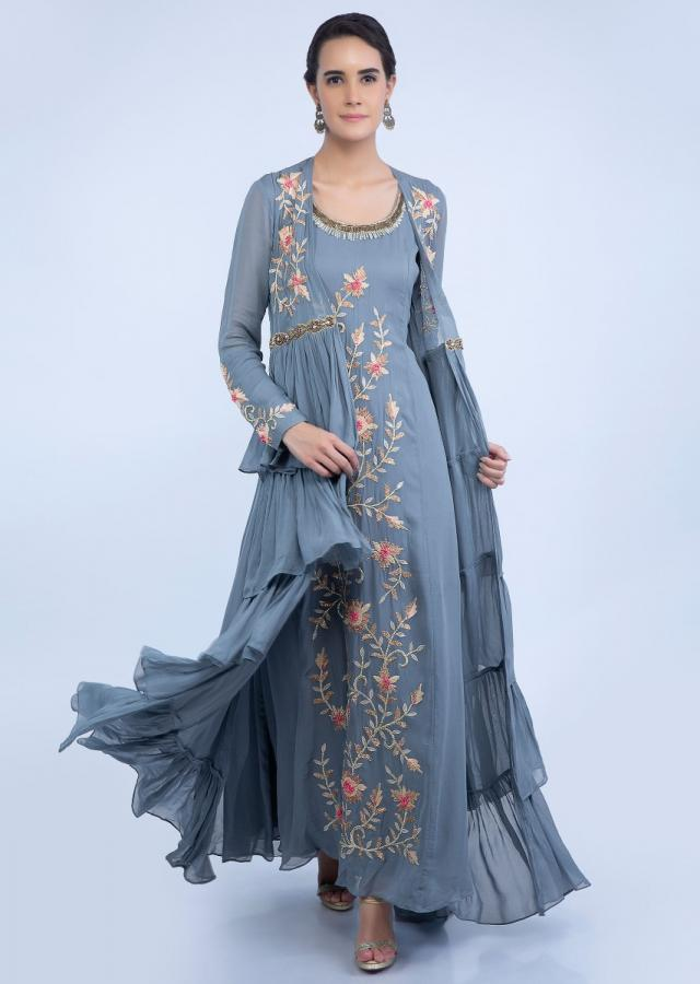 Grey Tunic Dress With Embroidered Front Panel And Long Frill Layered Jacket Online - Kalki Fashion