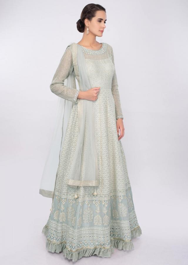 Grey Anarkali Dress In Georgette With Thread And Zari Embroidery Online - Kalki Fashion