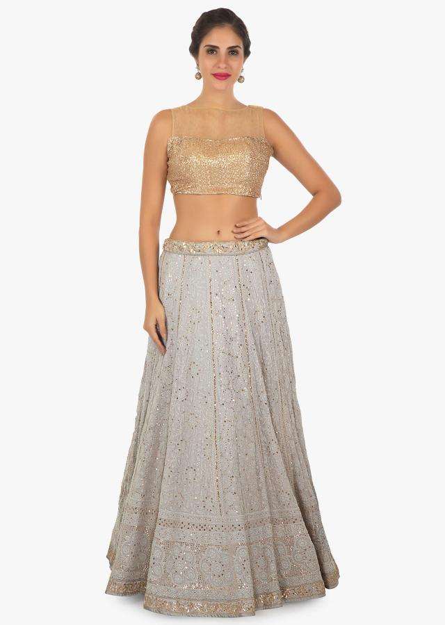 Grey georgette lehenga with thread work net dupatta with gotta patch only on Kalki