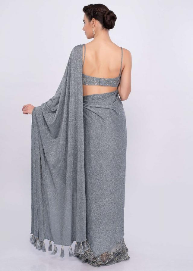 Grey Half And Half Saree In Shimmer Lycra And Embroidered Net Online - Kalki Fashion