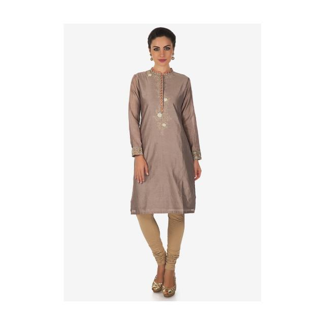Grey kurti in cotton with resham embroidered placket only on Kalki