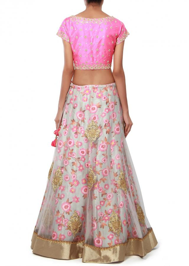Grey lehenga adorn in zari and floral print only on Kalki