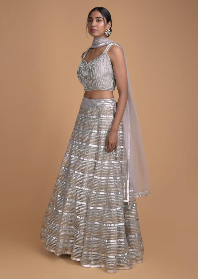 Grey Lehenga In Net With Gotta Lace Work And Moti Embroidered Blouse  Online - Kalki Fashion