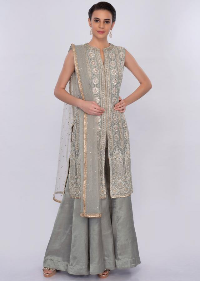 Grey lucknowi embroidered palazzo suit set only on Kalki