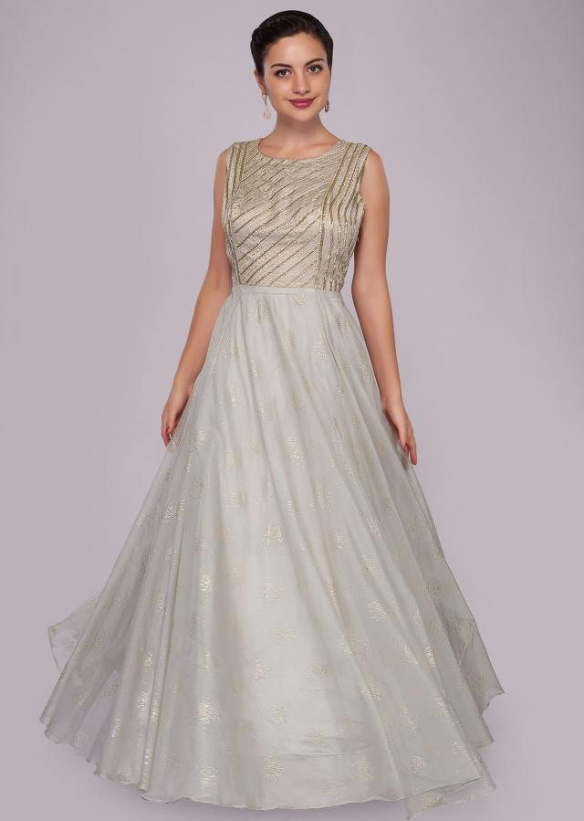 Grey organza anarkali gown with embroidered bodice only on Kalki