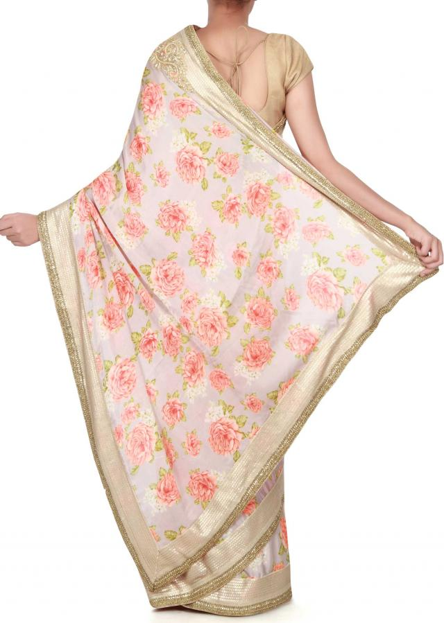 Grey saree adorn in rose motif print only on Kalki