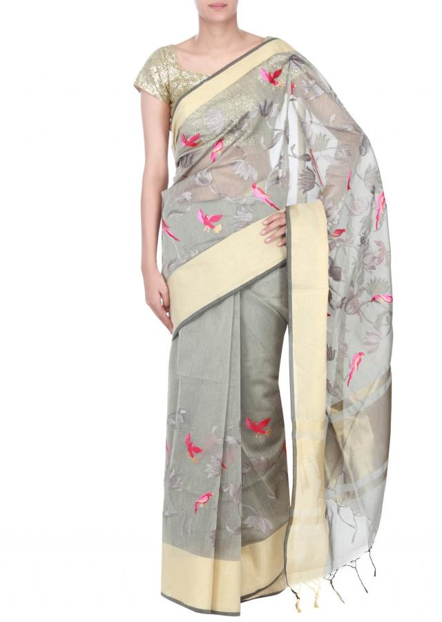 Grey saree embellished in floral and bird motif only on Kalki