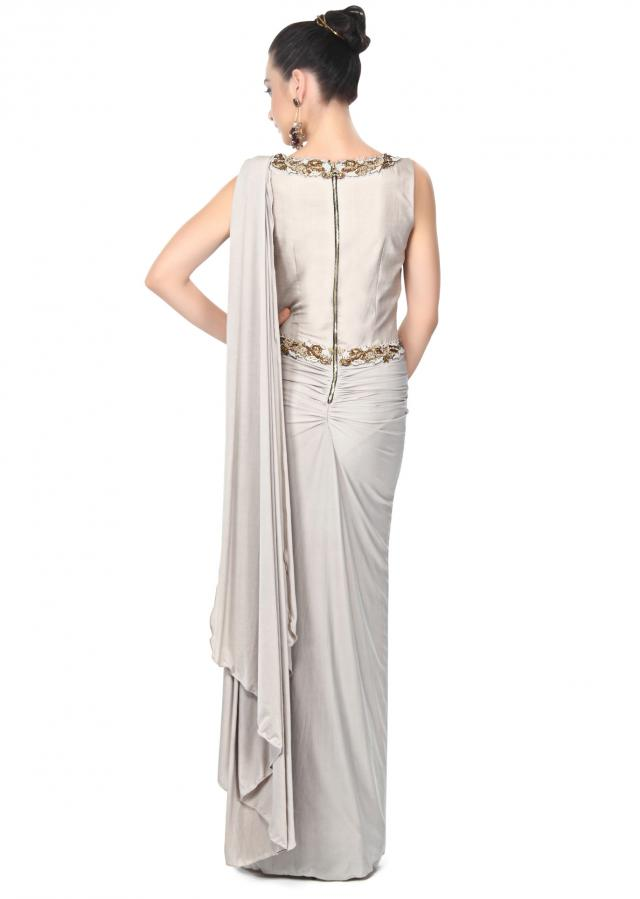 Grey saree gown enhanced in french knot embroidery only on Kalki