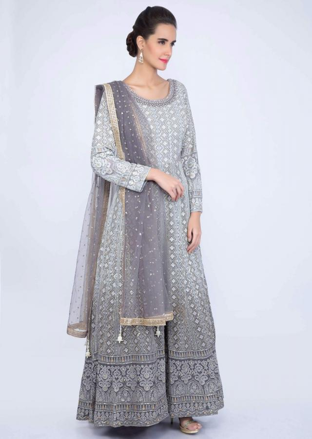 Grey shaded lucknowi anarkali with matching net dupatta only on kalki