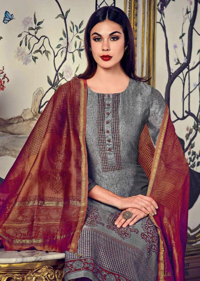 Grey Straight Suit In Silk With Jaal And Paisley Motif Print Along With Sequin Work Online - Kalki Fashion
