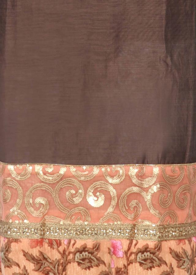 Grey unstitched suit adorn in sequin and printed border only on Kalki