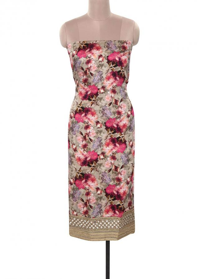 Grey unstitched suit enhanced in floral print only on Kalki