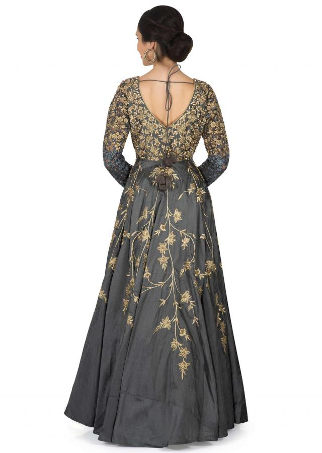 Grey anarkali gown in raw silk with gold and navy blue resham embroidery only on Kalki