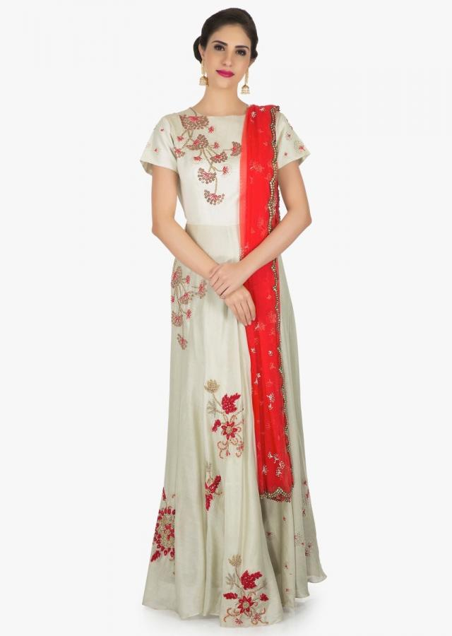 Grey anarkali suit crafted with fancy embellishments in floral motifs only on Kalki