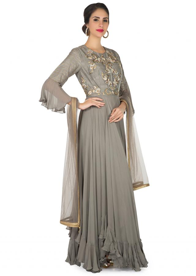 Grey anarkali suit in georgette with embroidered bodice only on Kalki
