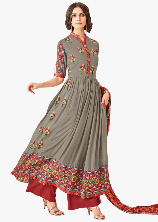 Grey anarkali suit with resham embroidered butti and printed dupatta