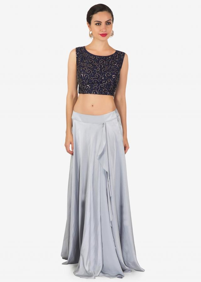 Grey and navy blue lehenga with pre stitched dupatta in cut dana and moti work only on Kalki