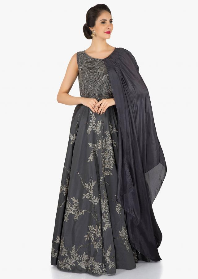 Grey gown embellished in heavy cut dana and resham work only on Kalki