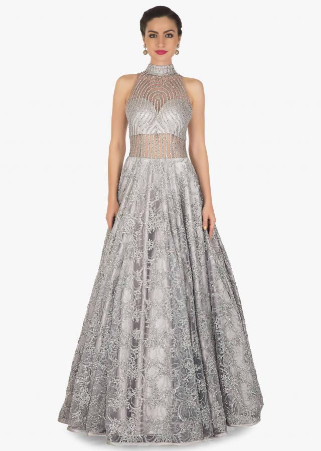Grey gown in embroidered net with sheer yoke and waist line only on Kalki