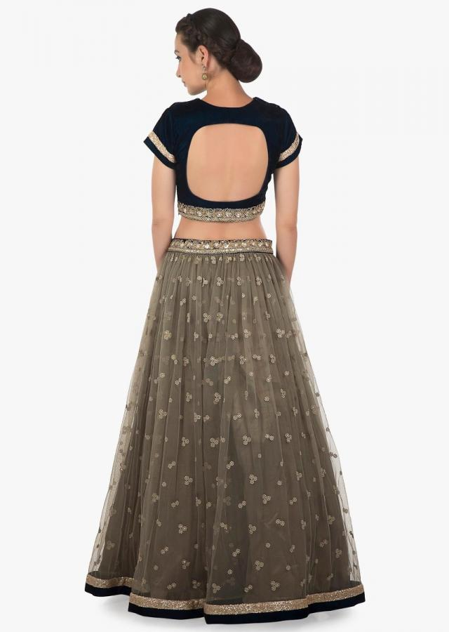 Grey lehenga in net with green ready blouse adorn in sequin only on Kalki