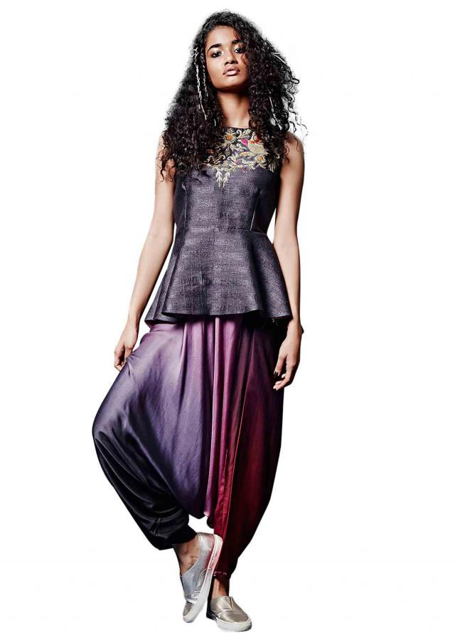 Grey peplum top with aladdin salwar only on Kalki