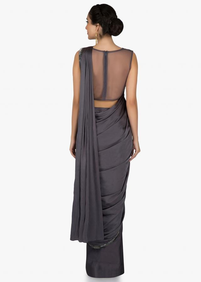 Grey pre stitched saree in cascade and cowl drape with sequin embroidered blouse only on Kalki