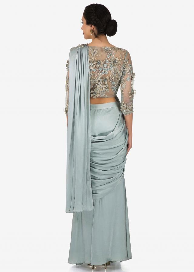 Grey satin pre-stitched saree with embellished blouse on 3D flowers only on Kalki