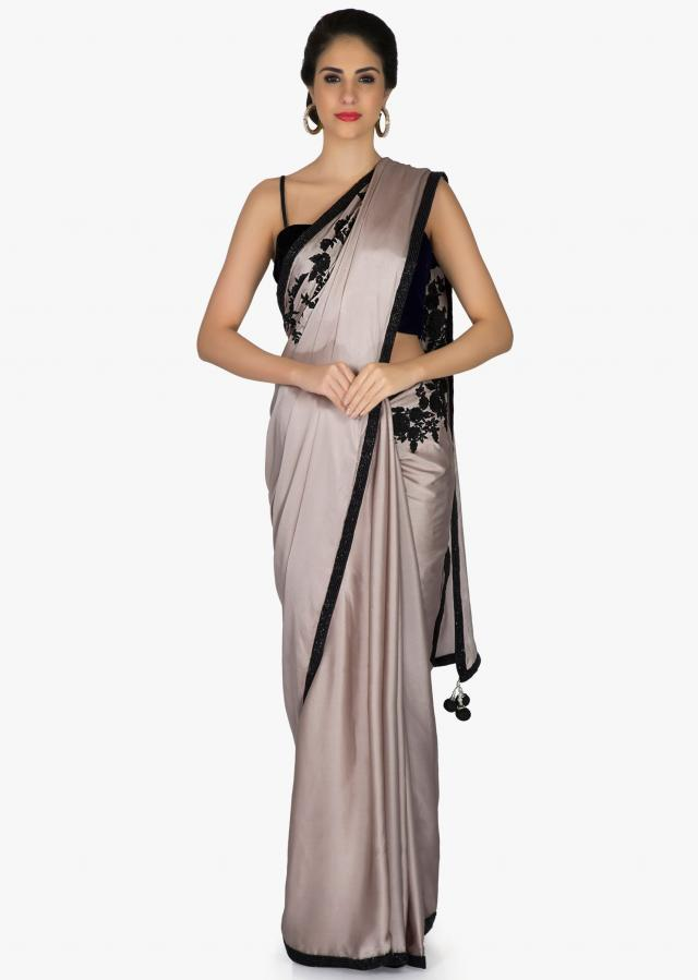 Grey Satin Saree with Embroidered Floral Motifs, Cut Dana and Beads only on Kalki