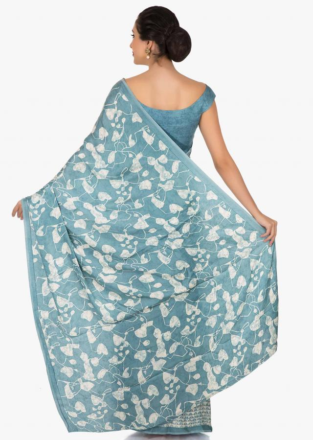 Greyish Blue saree in art satin with fabulous print work only on Kalki