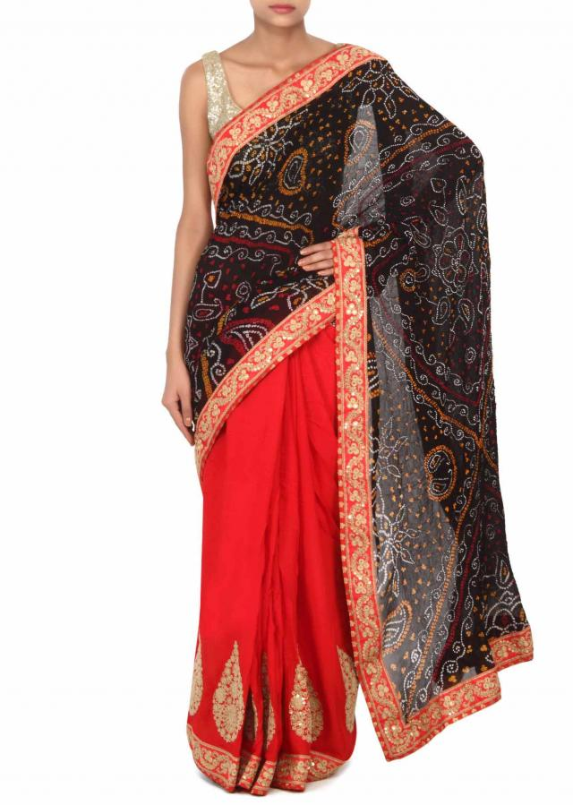 Half and half bandhani saree adorn in zari embroidery only on Kalki
