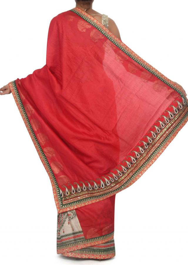Half and half saree in beige and red in kantha embroidery only on Kalki