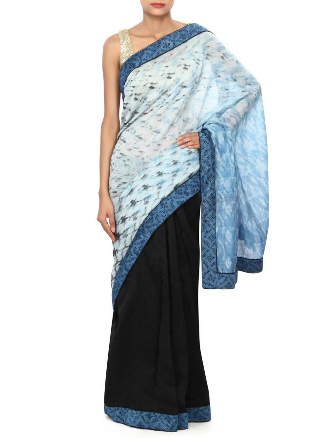 Half and half saree in black and blue with printed border only on Kalki