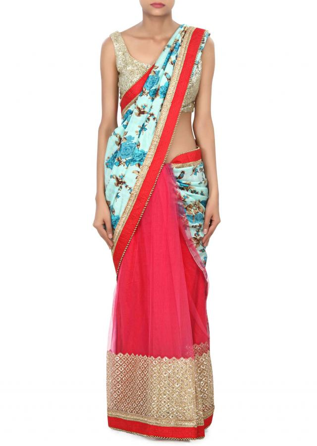 Half and half saree in floral print only on Kalki