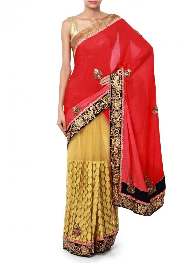 Half and half saree in pink and yellow adorn in zardosi and resham embroidery only on Kalki